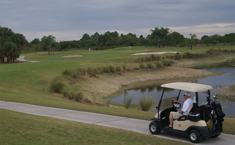 A golf cart path winds along the course at Buffalo Creek